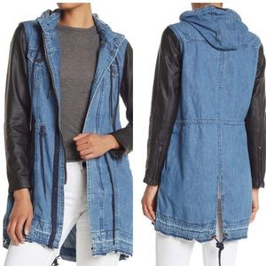 Blank nyc denim faux leather long hooded jacket
